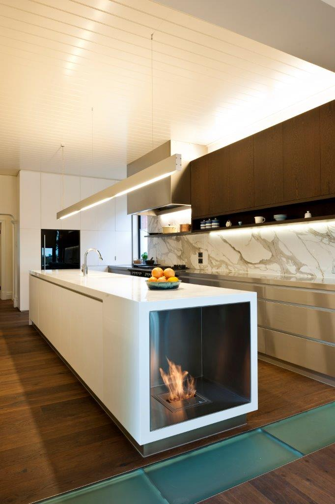 Fireplace Electric On Kitchen Island